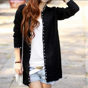 24a215639d Long Slim Small Fragrant Style Pearl Beading Knit Cardigan Sweater ...