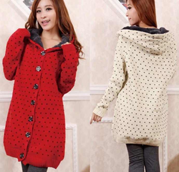 Thick Folder Long Loose Hooded Casual Dot Cashmere Cardigan ...