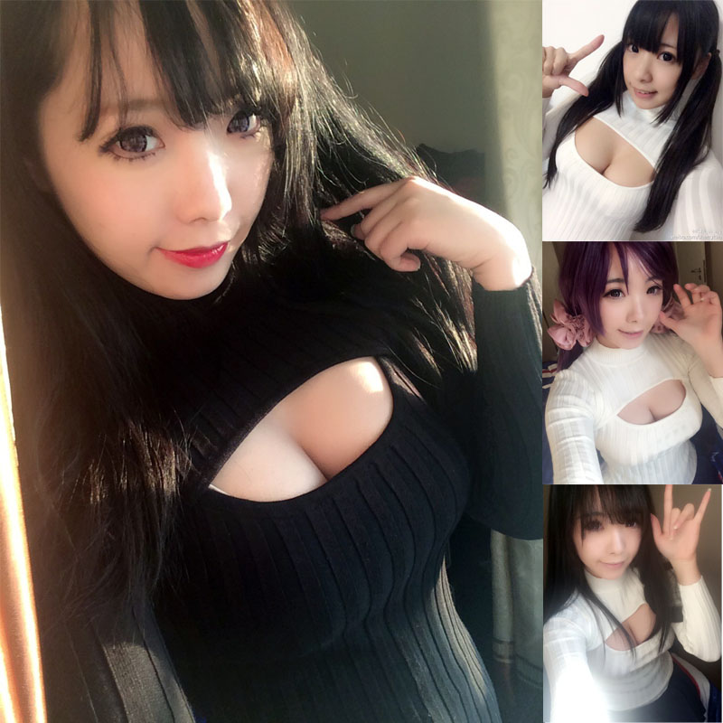 Knitted Cleavage Fashion Collar Show Turtleneck Sexy Cosplay High 3q4ARj5L